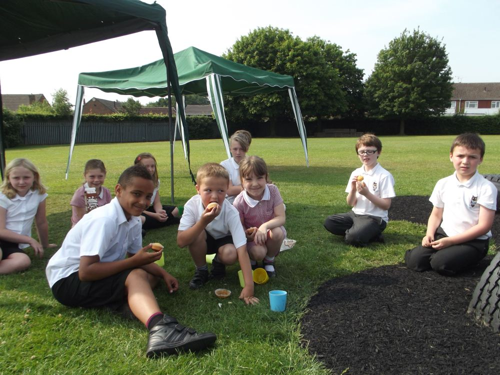 School Council enjoy a well deserved picnic after their work for Mount Nod last year